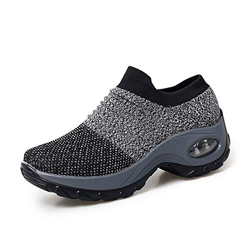 (XMWEALTHY Women's Walking Shoes Breathable Mesh Slip On Athletic Shoes Fashion Sneakers Running Loafers Shoes Grey US 9.5)