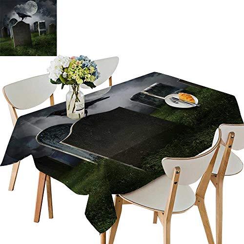 UHOO2018 Decorative Tablecloth Cemetery gravestones Moon Black Raven Square/Rectangle Kitchen Tablecloth Picnic Cloth,54 x127inch.