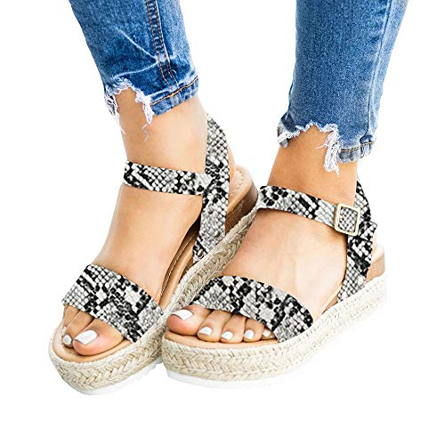 Nailyhome Womens Espadrilles Platform Sandals Open Toe Slingback Ankle Strap with Buckle (10 M US, Snakeskin)