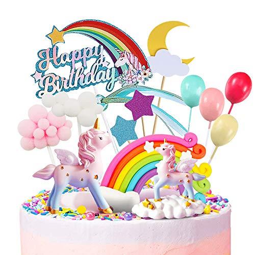 Humairc Eenhoorn Cake Decoratie Regenboog Eenhoorn Cake Topper Gelukkige Verjaardag Topper Wolk Ballonnen Maan Sterren…