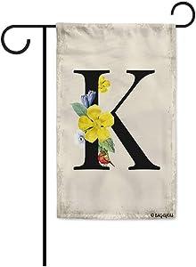 BAGEYOU Summer Flowers Monogram K Garden Flag Lovely Brid Spring Retro Decor Yard Banner Family Flag 12.5x18 Inch Printed Double Sided