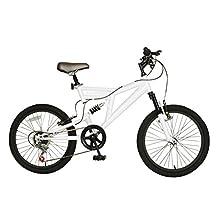 Cycle Force Dual Suspension Mountain Bike, 20 inch Wheels, 15 inch Frame, Men's Bike, White
