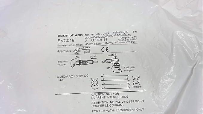 ifm electronic interconector M12 evc019 AR-100289 (): Amazon.es: Bricolaje y herramientas
