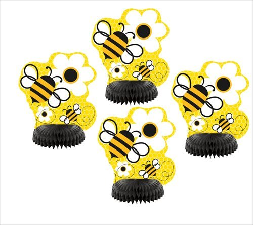 Unique Mini Honeycomb Bumble Bee Decorations 4 Count Yellow