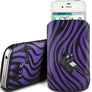 N4U Online - Apple Iphone 4 protección PU Zebra Diseño deslizamiento cordón tirador de la cremallera en la caja de la bolsa con cierre rápido y CE cargador de red - Purple