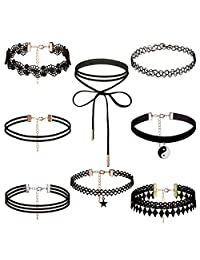 Dream Catcher Black Vintage Gothic Choker Necklace with pendants for Women Grils(1 - 8 pcs)