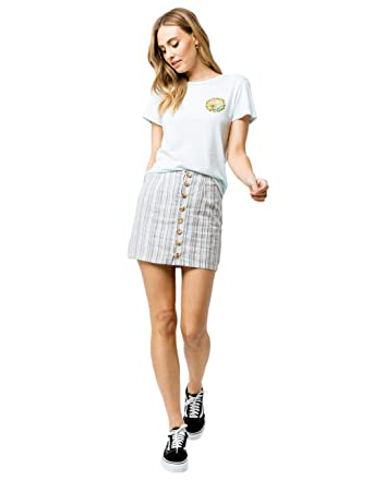 0093c45cd2 Image Unavailable. Image not available for. Color: Sky and Sparrow Stripe  Button Front Linen Mini Skirt ...