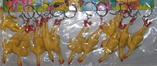 12-3 inch Soft Rubber Chicken Key Chain - Gag (Novelty Wholesale Inc)