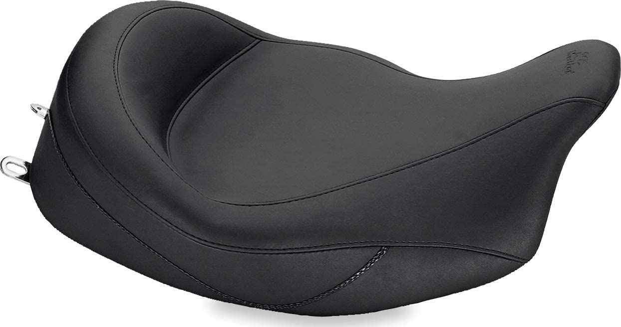 Black Mustang 79556 Super Touring One-Piece 2-Up Motorcycle Seat with Driver Backrest for Harley-Davidson FL Touring 2008-19
