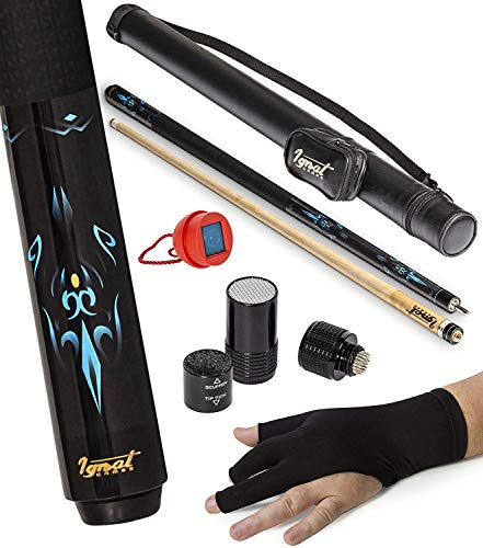 """IgnatGames 2-Pieces Pool Cue Stick - 58"""" Canadian Maple Professional Billiard Pool Cues Sticks with Hard Case, 3 in 1 Pool Stick Tip Tool, 3 Finger Glove and Chalk Holder (21 oz. Blue)"""