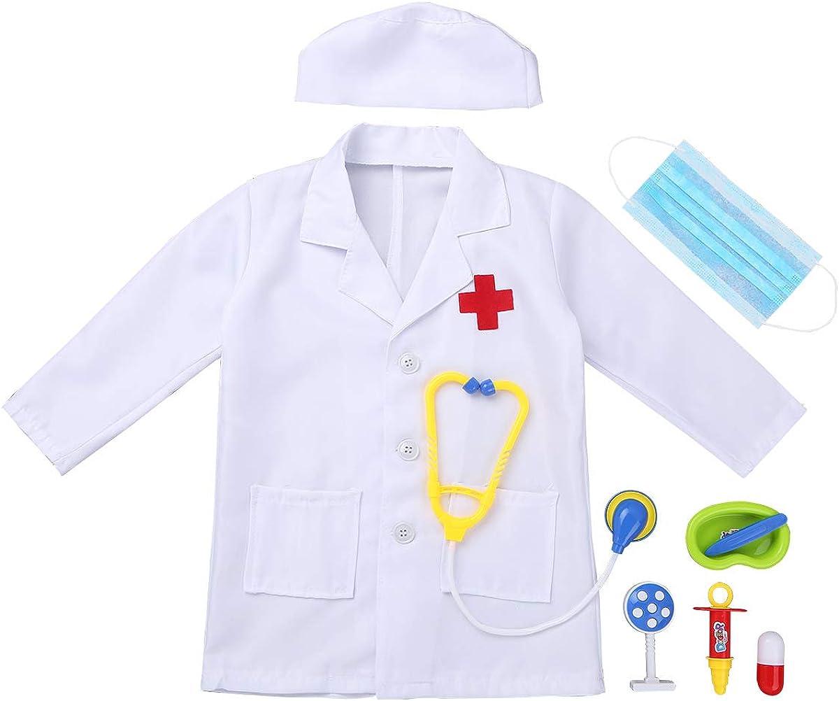 TiaoBug Unisexo Bata Blanca/Rosa Manga Larga de Doctor/Enfermera Disfraz Cosplay para Halloween con Accesorios(Estetoscopio+Jeringa etc.): Amazon.es: Ropa y accesorios