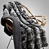 WOLF CREEK BLANKET - Compassion Blanket - Super Soft Furry Throw Blanket with Thick Sherpa for Bed or Couch - Luxuriously Cozy, Super Plush, Fluffy Faux Fur Hypoallergenic 50 x 65 (Wolf/Dk Sherpa)