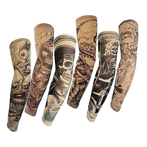 Jurxy 6 Pcs Temporary Tattoo Sleeves Fake Slip On Tattoo Arm Sleeves Kit Arm Sunscreen Stockings Accessories for Unisex Party Cool Men Women - Style L