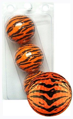 Tigers Logo Golf Balls (GBM Golf Animal Novelty 3 Ball Sleeve, Tiger)