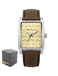 Ben Sherman Men's Quartz Watch with Beige Dial Analogue Display and Brown Faux Leather Strap BS033