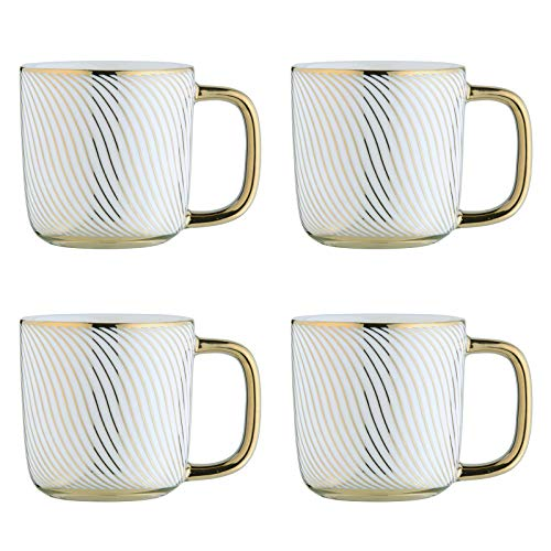 BIA 993018+1810PK4 Electroplated Mugs Espresso Cups, Porcelain, 100 milliliters