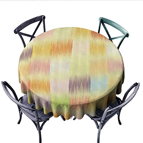 Abstract Printed Circle Tablecloth Grunge Design Striped Patchwork Pattern Geometric Squares in Pastel Colors Artwork Stain Resistant Wrinkle Tablecloth (Round, 54 Inch, Multicolor) ()