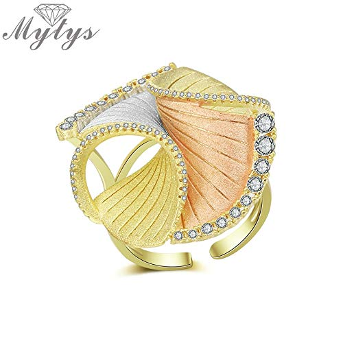 Yellow Silver Rose Mix Gold Ring Open Cuff Adjustable Size Creative Italy Fashion Designer Rings Frosted Flower R2038 ()
