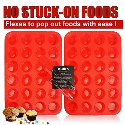 WALFOS BPA Free Mini Muffin Pan Silicone Cupcake Baking Cups, 24 Small Cups Non Stick Silicone Molds for Muffin Tins (Set of 2)