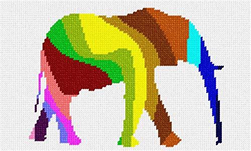(pepita Elephant Palette Silhouette Needlepoint Canvas)