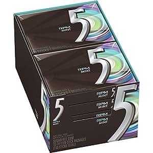5 Gum RPM Mint Sugarfree Gum, 15 piece (10 Packs)