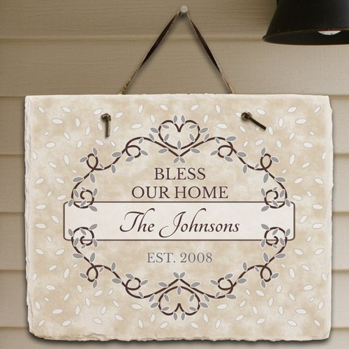 - GiftsForYouNow Personalized Bless Our Home Slate, 11.5