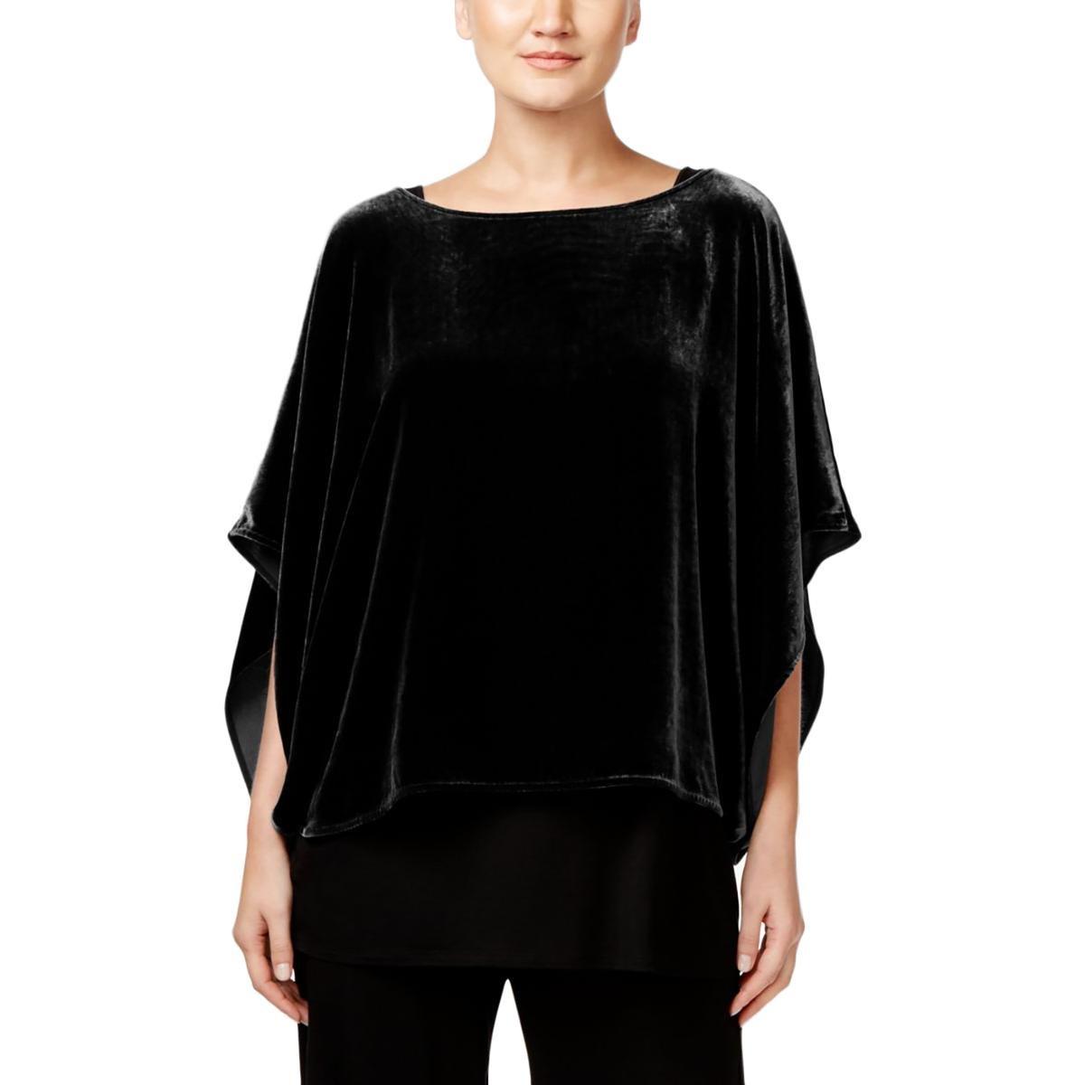 Eileen Fisher Womens Silk Boat Neck Crop Top Black M