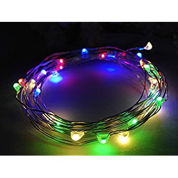 viewpick 10ft3m 30 leds multi colored fairy lights silver wire lights waterproof led string starry lights battery powered light rope lights for seasonal
