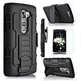 Cell Phones Accessories Lg Best Deals - LG K7 Case, Starshop [Heavy Duty] Dual Layers with Kickstand and Locking Belt Clip With Premium Screen Protector Black