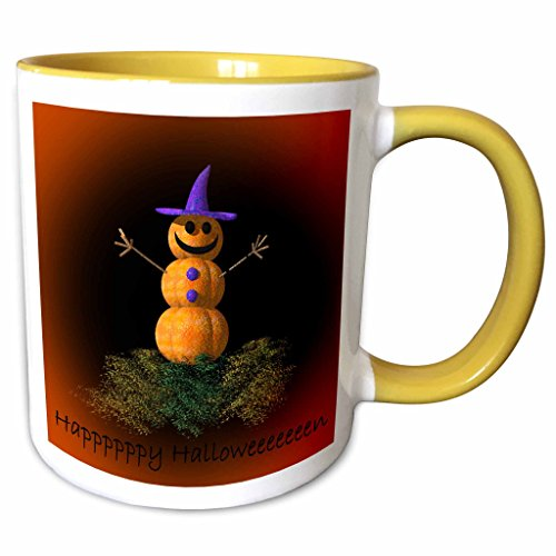 3dRose ET Photography - Halloween Designs - Instead of a Snowman, this is a PumpkinMan - 11oz Two-Tone Yellow Mug (mug_157350_8) (This Is Halloween Pics)