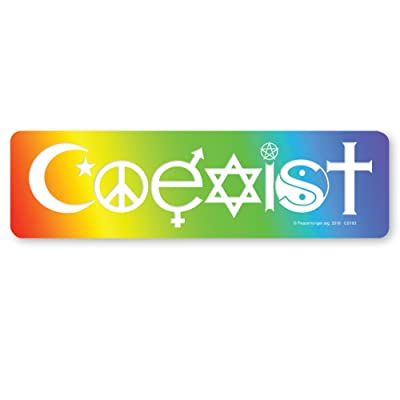 Peacemonger Coexist Rainbow Symbolic Peace Sign Religion Interfaith Color Large Bumper Sticker: Arts, Crafts & Sewing