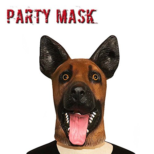 [Monstleo Latex Rubber German Shepherd Dog Animal Head Mask Halloween Party Costumes] (Make Lion Costume For Dogs)