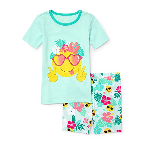 The Children's Place Big Girls' Top and Shorts Pajama Set, Crystalmnt, (Loose Fit Girls Shorts)