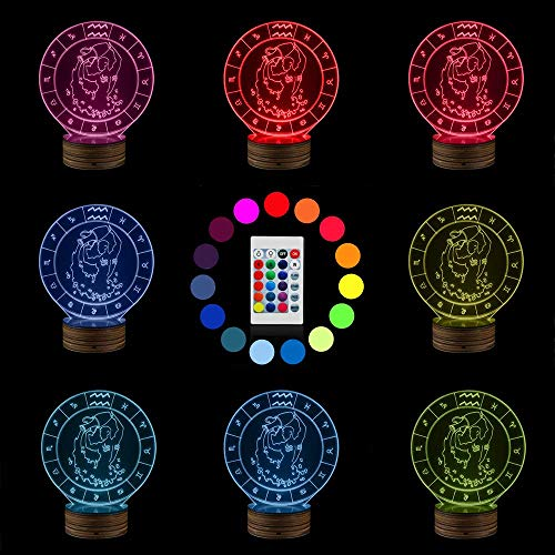 Novelty Lamp, 3D Led Lamp Optical Illusion Taurus Night Light USB Powered Bedroom Table Lamp Children's Gifts Home Decoration 16 Colors with Remote Control,Ambient Light by LIX-XYD (Image #1)