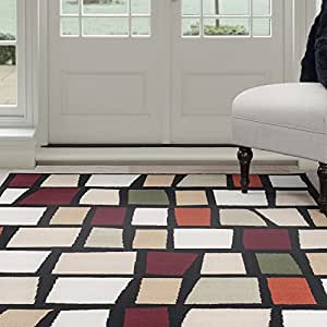 Lavish Home Contemporary Color Blocks Area Rug, 3-Feet 3-Inch by 5-Feet, Multicolor