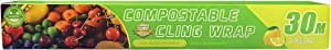 Compostable Cling Wrap for Food, Biodegradable Food Wrap with Slide Cutter, BPA Free Cling Wrap, Certified Material, Eco Friendly, Non-Plastic, Non-Toxic, 12 inch x 99 feet
