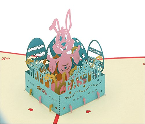 IShareCards Handmade 3D Pop Up Happy Easter Greeting Cards (Easter Rabbit)