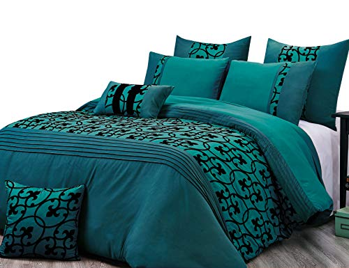 (Luxton 7pc Flocking Quilt Cover Set, Super Soft Black Scroll Duvet Cover Comforter Cover Set (Teal Green, Queen Size Set))
