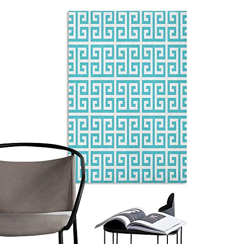 Waterproof Art Wall Paper Poster Greek Key Geometric Hellenic Fret Pattern in Pastel Blue and White Color Antique Revival Seafoam White Living Room Wallpaper W32 x - Revival Seat White Toilet
