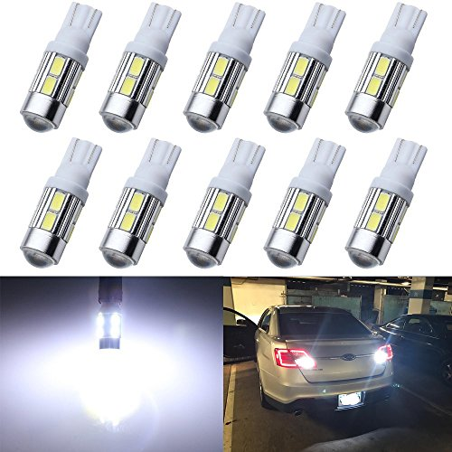 Grandview 10pcs 300 Lumens T10 2825 W5W 194 175 168 5730 10-SMD Lens LED Bulbs License Plate Door Courtesy Interior Map Dome Front Rear Sidemarker Lights 12V 8000K White ()