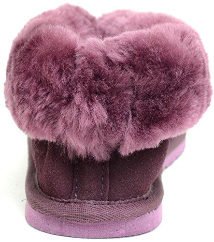 Damenschuhe/Slipper aus Schafleder mit Umschlag Violett