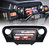 Xprite Spartan TJ Grille Grill Overlay Cover with Distressed U.S. Flag Design on Steel Mesh for Jeep Wrangler TJ 1997-2006