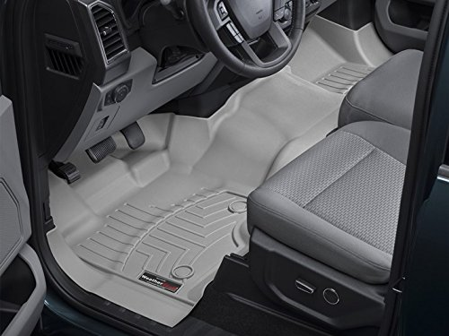 2015-2016 Ford F-150 Weathertech Floor Liners-Full Set (Includes 1st Row-Over-The-Hump and 2nd Row Uni-liner ) SuperCab (Extended Cab)-1st Row Bench-Grey