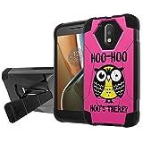 Moto [G4] [G4 Plus] Defender Hybrid Case [SlickCandy] [Black/Black] Armor Shell & Impact Resistant [Kick Stand] Phone Case - [Hoo is There Owl] for Moto [G4 XT1625] [G4 Plus XT1644]