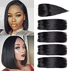 Brazilian Hair 4 Bundles With Closure Short Human Hair Weave Bundles With Free Part Lace Closure 8A Brazilian Straight Hair 8 inch Natural Color (8 8 8 8+8 closure)