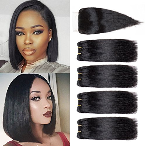 Brazilian Hair 4 Bundles With Closure Short Human Hair Weave Bundles With Lace Closure Free Part 8A Brazilian Straight Hair 8 inch Natural Color (8 8 8 8+8 closure) (Best Hair For Quick Weave Bob)