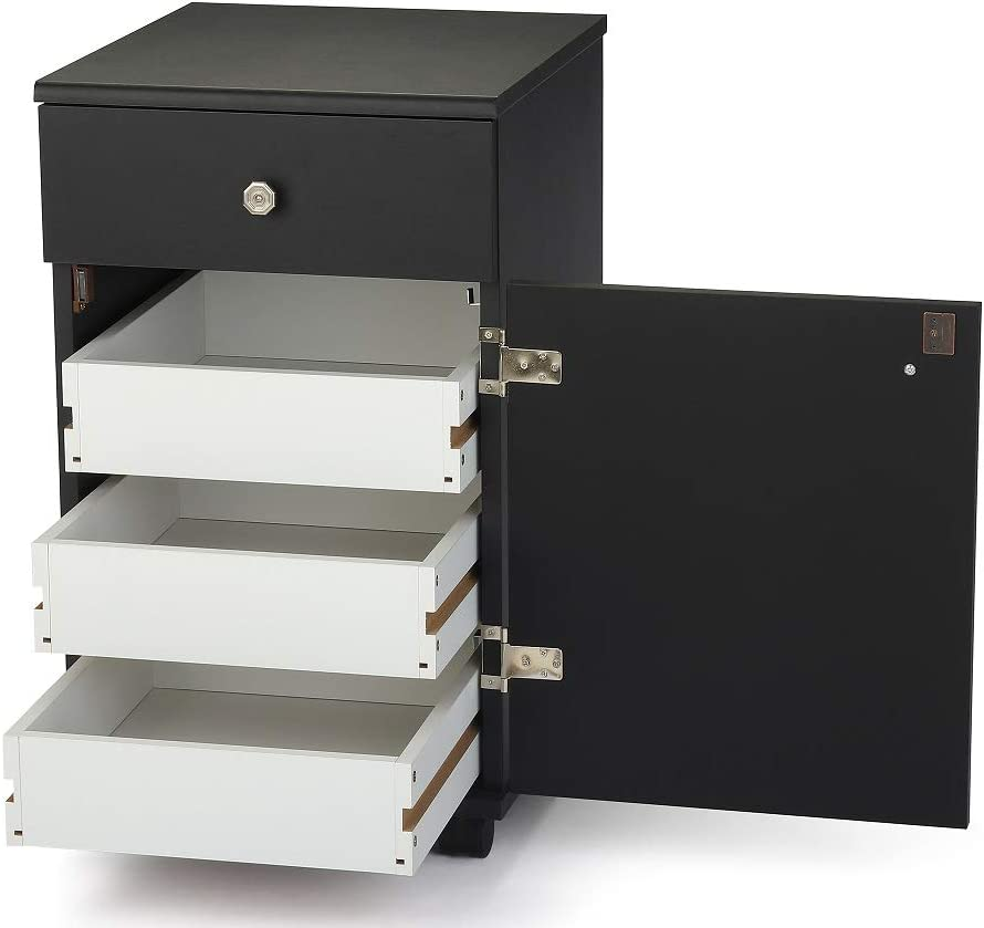 Arrow 803 Suzi Sidekick Portable Sewing, Crafting, and Quilting Storage and Organization Cabinet, Black Finish