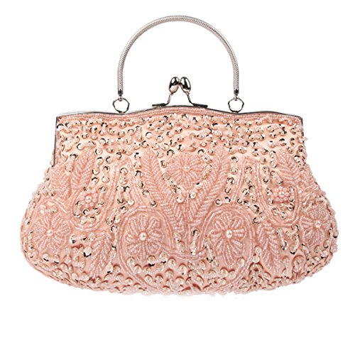 Flada abalorios de lentejuelas de las mujeres de embrague bolso de las señoras Vintage flores de noche para el café de boda PROM Champagne
