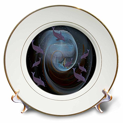 3dRose cp_9164_1 Dolphins-A-Porcelain Plate, 8-Inch