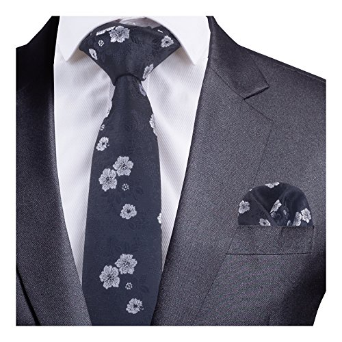 GUSLESON Black White Floral Necktie and Pocket Square Set (0718-01)